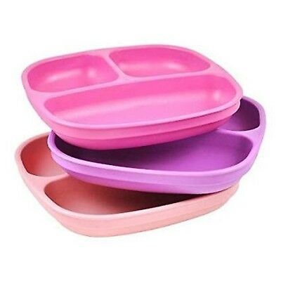 Re Play Divided Plates for Babies and Toddlers (Set of 3 - Dark Pink, Light P...