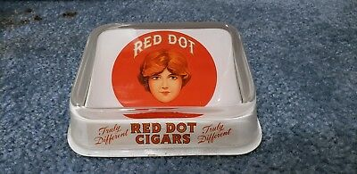 Rare Antique Vintage Red Dot Cigar Glass Top Tray Store Display Tin Sign Stogie