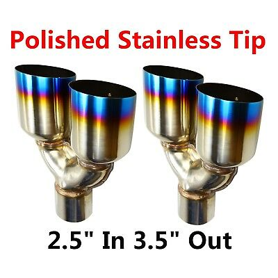 "2x 2.5""In 3.5""Out Burnt Blue Polished Stainless Steel Straight Exhaust Duo Tips"