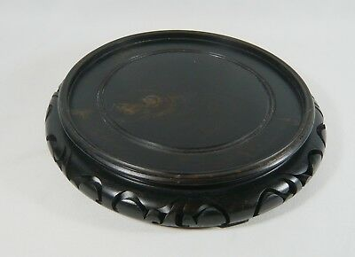 """Large 9"""" Antique Oriental Asian CHINESE Vase / Bowl STAND carved Dark Rosewood"""