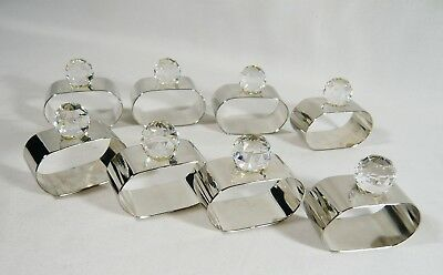 Set of 8 Silver Plate & Crystal Ball  NAPKIN RINGS