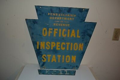 Vintage Early Double Sided Pennsylvania Dept Of Revenue Inspection Station Sign