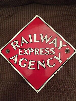 OLD ORIGINAL 30's RAILWAY EXPRESS AGENCY SIGN Porcelain RAILROAD