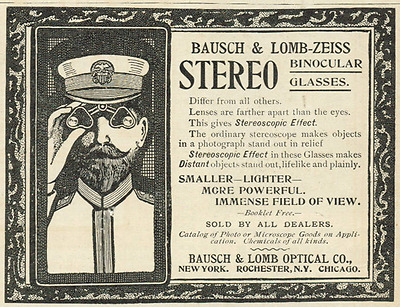 Bausch & Lomb Man Looking Through Zeiss Stereo Binoculars Vintage 1900 Print Ad