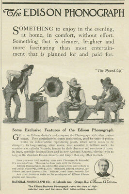 Edison Phonograph Cowboys Ranch Hands Listening To Music Roundup 1909 Print Ad
