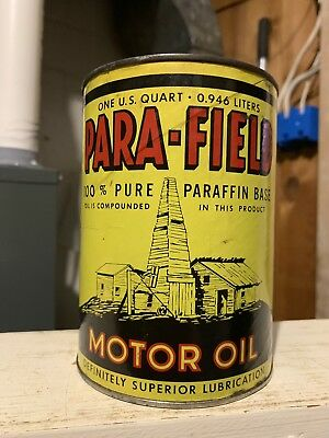 Vintage VERY RARE Parafield Graphic Quart Oil Can FULL Composite NO RESERVE!!