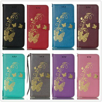 Gold Butterfly Leather Filp Wallet Case For iPhone X XR XS MAX Nokia MOTO C X4