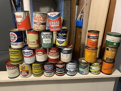 Vintage Lot Of 25 One Pound Grease Cans Not Oil Empty Full Metal NO RESERVE!!