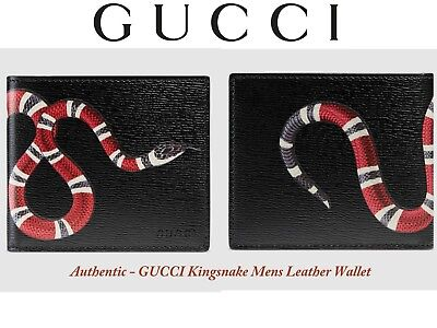 5aa45c582199 NEW Gucci Men's 451268 BLACK Leather KINGSNAKE Print Bifold Mens Wallet $450