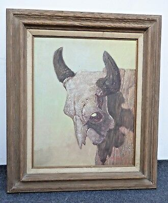 Vintage Western Oil Painting of Cow Skull Signed by Roy Hampton