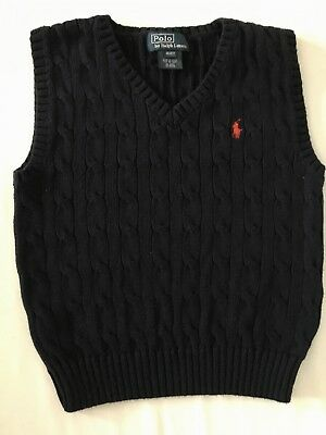 Polo by Ralph Lauren Navy Blue Sweater Vest Cable Knit V-Neck 100% Cotton EUC