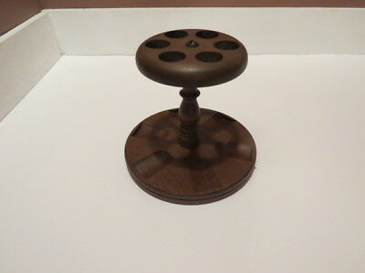 Vintage Wooden Pipe Tobacco Rack holder stand holds 6 pipes