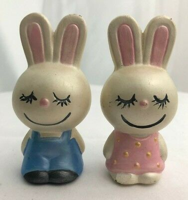 Vintage Set of Two Bunnies Girl and Boy Figurine Handpainted