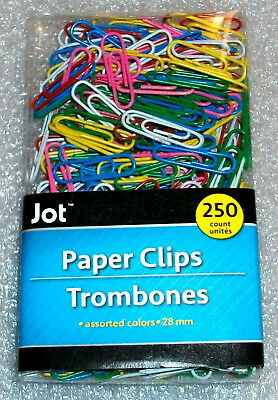 "PAPER CLIPS MULTI-COLOR VINYL COATED METAL 1""/25mm 250 Ct"