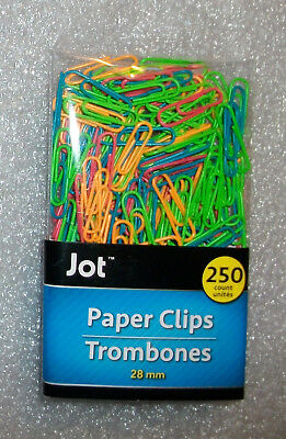 "PAPER CLIPS MULTI-COLOR NEON VINYL COATED METAL 1""/25mm 250 Ct"