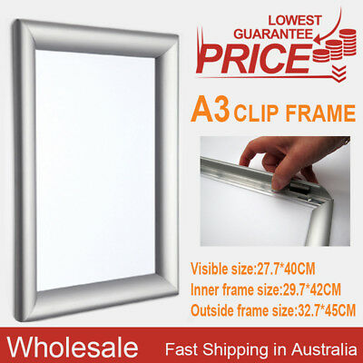PREMIUM A3 Aluminum Wall Poster Frame Snap Clip Holder Elevator OZ