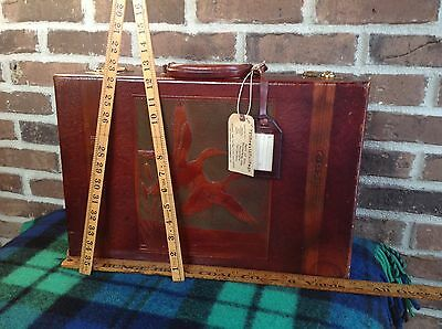 Extremely Rare Vintage 1960's Saddle Leather Duck Hunters Briefcase Bag R$1298