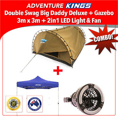 Adventure Kings Double Swag Big Daddy Deluxe + Gazebo 3m x 3m + 2in1 LED Light &