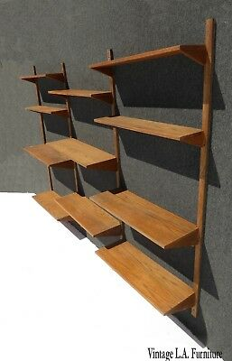 Vintage Danish Mid Century Modern Wall Unit Bookcase w Eleven Shelves