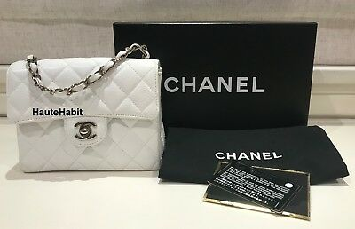 286cca9298c3 Vintage Chanel White Caviar Quilted Classic Square Mini Flap Bag Silver Hw