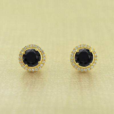 14k Yellow Gold Over Round Halo Black Diamond Screw Back Stud Earring For Womens
