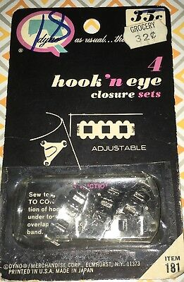 dyno hook and eye closure set vintage in original packaging