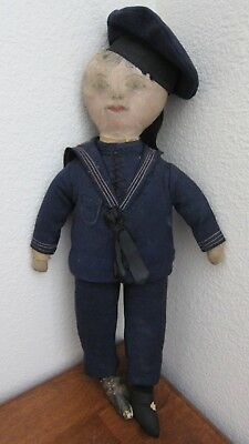 """Antique, Cloth Boy Doll """" Sailor"""" with Oil Cloth Painted Face~Late 1800's 1900's"""
