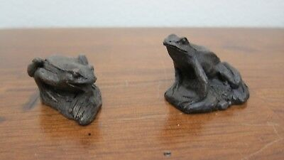 Heredities Lot Of 2~Cold Cast Bronze's~Frogs/toads By Jean Spouse In Orig/boxes
