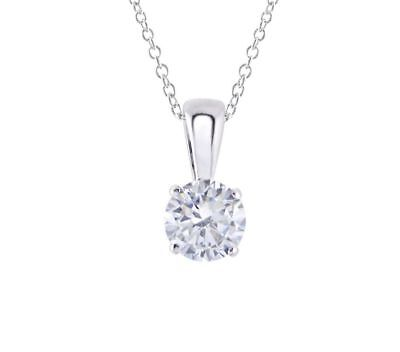 """14K White Gold Over 1.20 CT Round Solitaire VVS1 Diamond Pendant With Chain 18"""""""