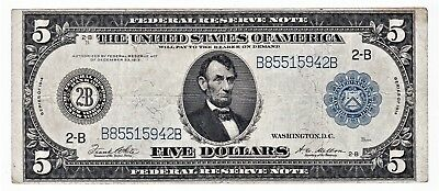 Series 1914 Large $5 Federal Reserve Bank of NEW YORK, Large Note