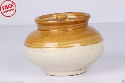 1850's Old Vintage Unique Round Shape Hand Crafted Ceramic Pot Collectible 177