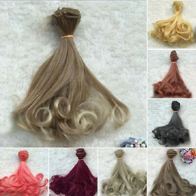 Fashion Long Colorful Curly Wave Doll Wigs Synthetic Hair For Dolls Decor