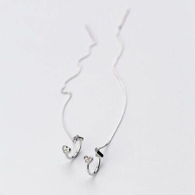 925 Sterling Silver Cubic Zirconia Heart Ear Cuff Threader Thread Earring A1263