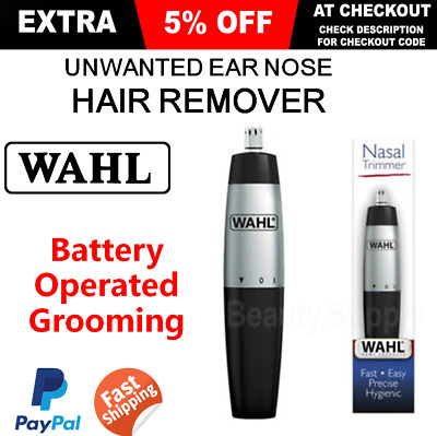 Mens Nasal Hair Trimmer Nose Ear Clipper Cleaner Remover Wet Dry Cordless Travel