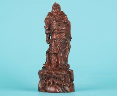 Sacred Chinese Boxwood Statue Guan Gong Hand-Carved Mascot Collection Gifts