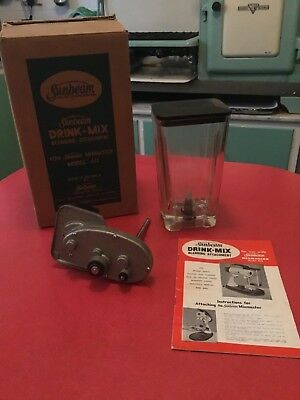 Vintage Sunbeam Mixmaster Drink-Blending Attatchment with packaging and booklet