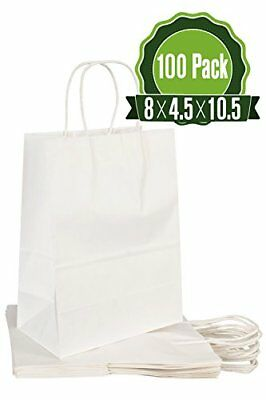 White Kraft Paper Gift Bags Bulk With Handles 100pc Ideal