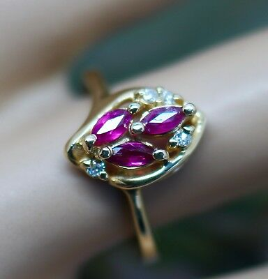 Art Deco Vintage Jewellery Gold Ring Pink Sapphire Antique Jewelry Size K1/2