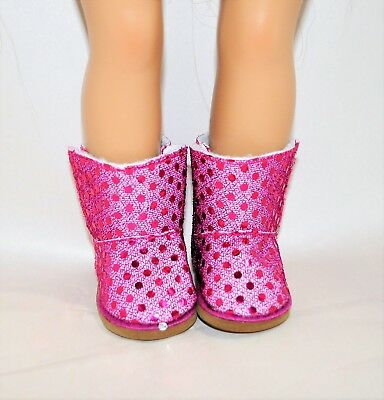 """Our Generation American Girl Doll 18"""" Dolls Clothes Shoes Hot Pink Sequin Boots"""