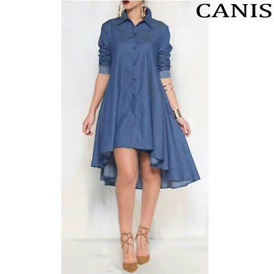 6172f3d091c Women s Blue Jeans Denim T-Shirt Long Sleeve Casual Loose Shirt Mini Dress