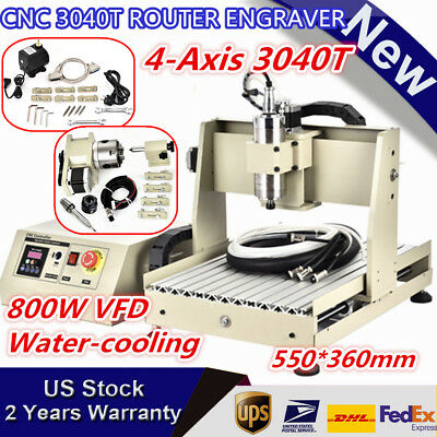 4 Axis CNC 3040T Router Engraver 800W Engraving Drilling Milling Machine 550*360