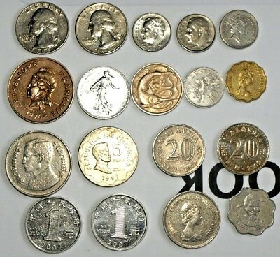 Mixed 18 World Coins, USA,UK,ASIA