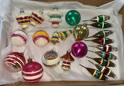 Large lot of 23 Vintage Shiny Brite/Made is USA Christmas ornaments