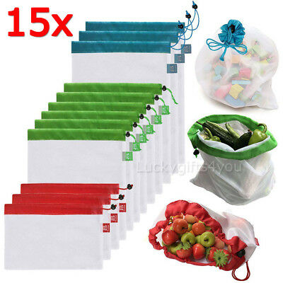 15x Eco Friendly Reusable Mesh Produce Bags Superior Double-Stitched Strength OZ