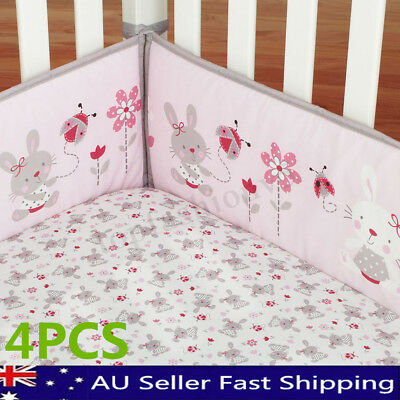 4Pcs/Set Rabbit Baby Infant Cot Crib Bumper Safety Protector Toddler Nursery