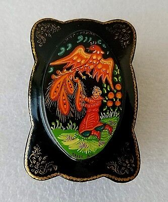 PALEKH Vintage Lacquer Box Fairy Tale Fire-bird Жар-птица Signed Russia USSR