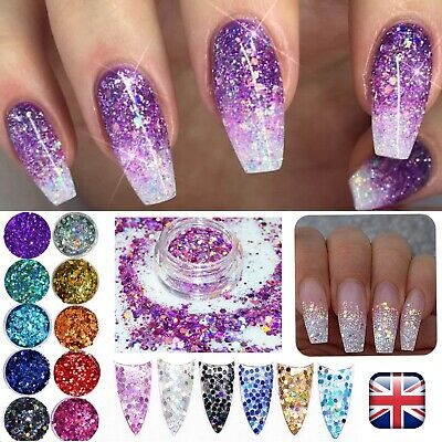 CHUNKY GLITTER MIXED HOLOGRAPHIC MIX Face Body Cosmetic Sequins Sparkly Nail Art