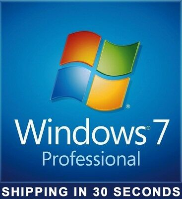 Windows 7 Professional pro Key 32/64 bit - 100% Original License - 30 Sec. Shipp