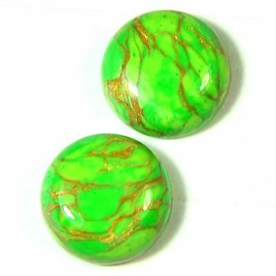 15.80 Cts 14x6mm GREEN DESIGNER COPPER Turquoise ROUND PAIR CABOCHON GEMSTONE