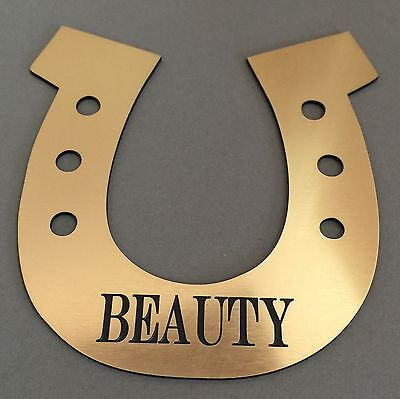 BP11 Horse Shoe Stable Door Name ABS Engraved Brass Memorial Plaque Plate Grave